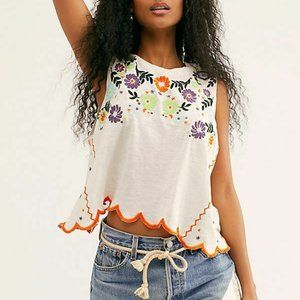 Free People Gardenia Floral Embroidered Boho Top M